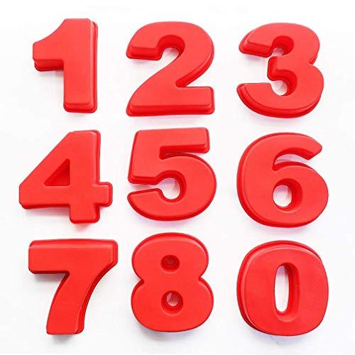 BAKER DEPOT Silikon-Backformen 0-8 Zahlenkuchenformen für Geburtstage, Hochzeit, Jahrestag, kleine Größe 9,5 cm, 9 Stück