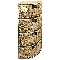 Woodluv Cajonera de 4 cajones (junco marino tejido)