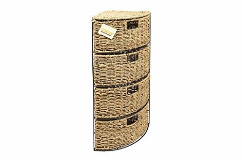 WoodLuv - Cajonera de 4 cajones (junco marino tejido)
