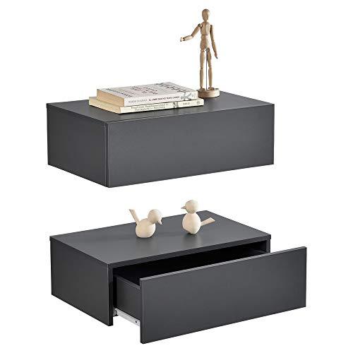 [en.casa] Wandregal mit Schublade 2er-Set Dunkelgrau 46x30x15cm Wandschrank Nachtschrank -