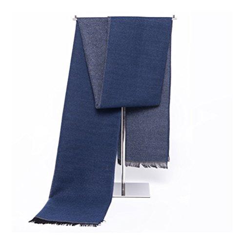 LEORX Hombres Invierno Cálido Larga Bufanda regla rayas borlas Fringed larga bufanda chal (azul)