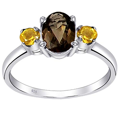 Orchid Jewelry Unisex Damen - 925 Sterlingsilber Sterling-Silber 925 Oval Rund Yellow Brown Rauchquarz, Citrin