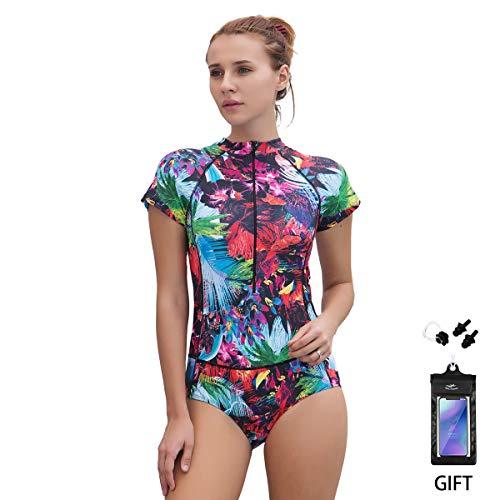 FOCLASSY Bikini Badeanzug Damen Einteiler Bikini Badeanzug Langarm Mode Flower Bedruckt Plus Size Reißverschluss vorne Push Up Bademode mit Chest Pad -10122 (Lila Kurz, M/EU 34-36) - Mode Badeanzug