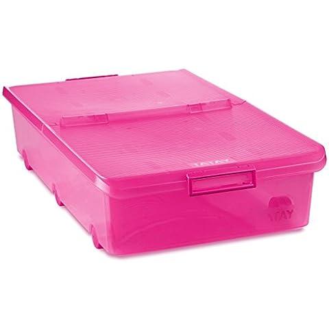 Tatay 1151112 - Bajo multiusos caja con ruedas, 63 L, 77.5 x 44 x 18 cm, plástico translúcido