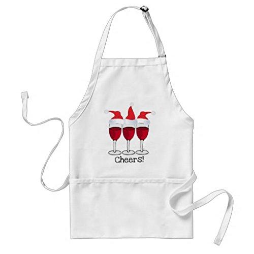 Küche Schürze für Frauen Cheers rot Wein und Weihnachten Hüte Print Schürzen für Mädchen verstellbar Hals Taille Bindungen Kochschürze für Herren (Hut Weihnachten Mädchen)