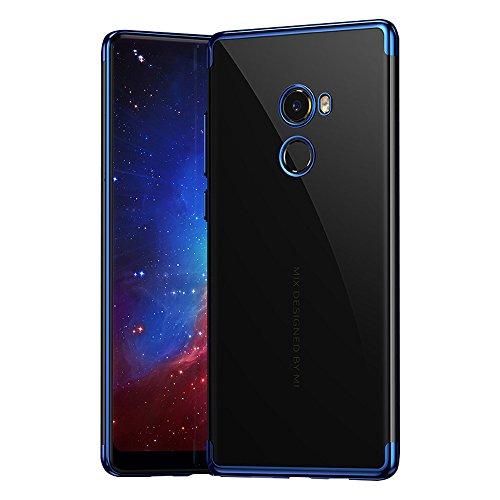 BLUGUL Xiaomi Mi Mix 2 Hülle, Electroplating Coloring, Crystal Clear Transparent Schutzhülle, Ultra-Dünn Case, Weiche TPU Silikon Cover für Xiaomi Mix 2, Blau