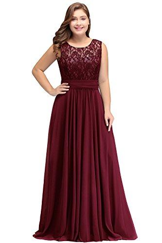 Misshow Damen Übergröße Abendkleid Spitze Chiffon Rückenfrei Elegant Lang Ballkleid Gr.32-52, Rot, 52