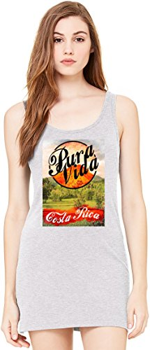 Costa Rica Kleid (Pura Vida Costa Rica Bella Basic ärmellose Tunika Sleeveless Tunic Tank Dress For Women| 100% Premium Cotton| Medium)
