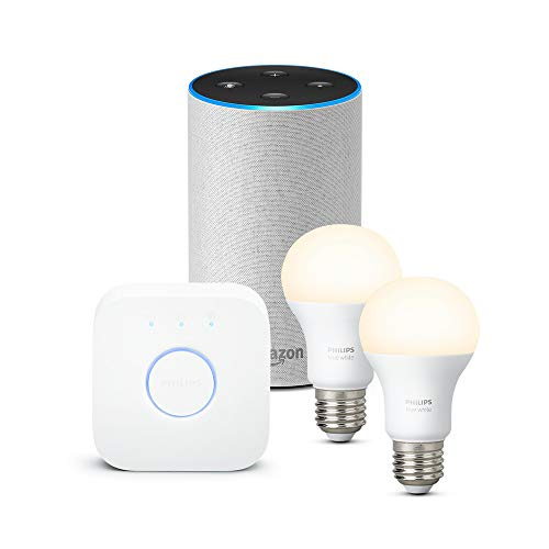 Amazon Echo (2.ª generación), tela de color gris claro + Philips Hue...