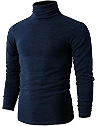 abb91e50567fdb Men s Cotton Slim Fit T Shirt Long Sleeve Pullover with Roll Neckline