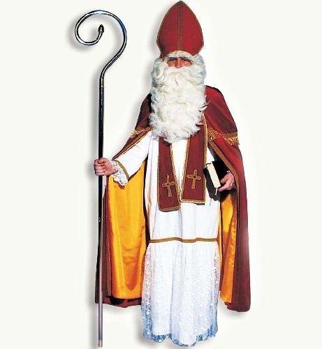 (Bischof Kostüm SAMT 4tlg mit Kleid, Umhang, Schärpe und Hut / Mitra Einheitsgröße Erwachsene)