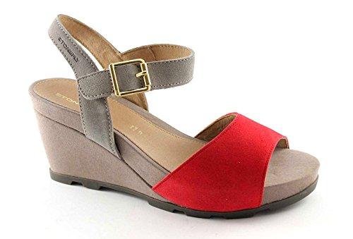STONEFLY 106541 taupe rosso scarpe donna sandali zeppa pelle fibbia 38