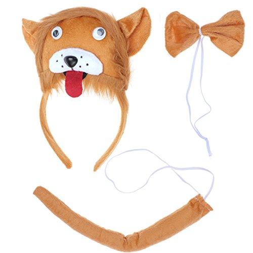 BESTOYARD Kinder Kostüme Löwe Kopf Stirnband mit Ohren Tier Schwanz Fliege für Cosplay Halloween Party Favors 3 Stück (Halloween 3 Für Kostüme Familie)