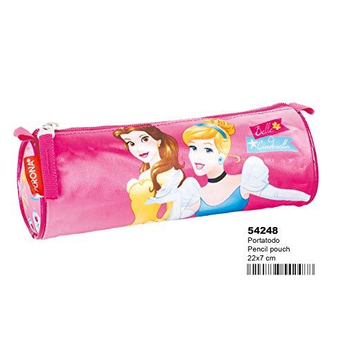 Disney Princesas Estuche portatodo en Forma de Tubo, Color (Multicolour), 22 x 7 cm (Montichelvo 54248)