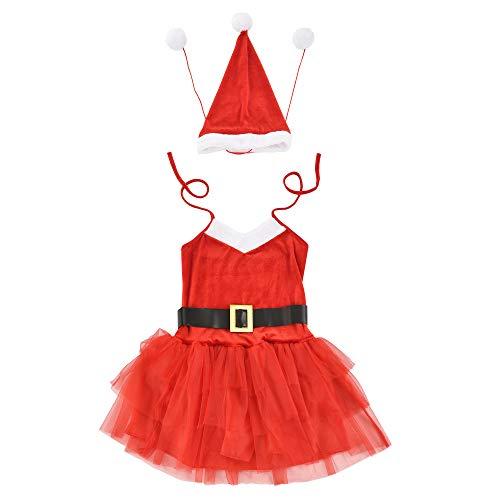 [en.casa] Maschera Natalizia da Donna Insieme di 3 Pezzi 64 x 50 cm Taglia: 36-42 Costume e Cappello Babbo Natale e Cintura Nera Rosso/Bianco