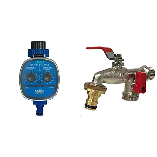 Aqua Control - Programador de Riego C4099N + Grifo de Jardín G6354 con Doble Salida 1/2'' - 3/4''