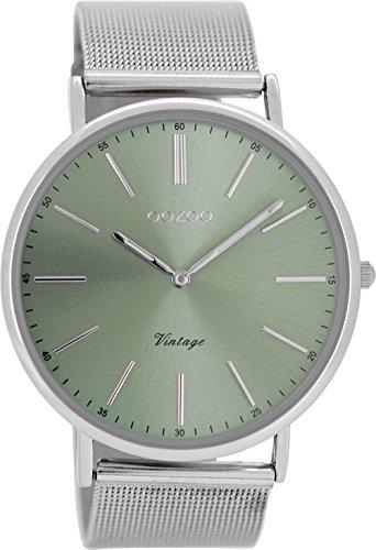 Oozoo Vintage Hombre Reloj Metal banda 44mm verde/plata Colores c8175