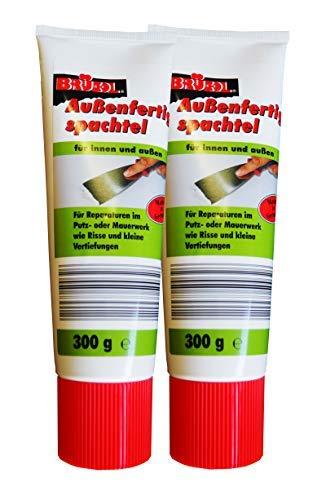 2 x Brücol Außenfertigspachtel 300g, Spachtel-Masse, Reparatur-Spachtel, Putz
