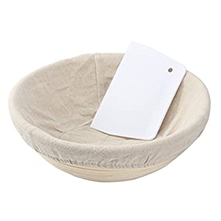 ANPHSIN Banneton Proofing Basket Round Bread Brotform Dough Rising with Liner, 25 x 8.5 cm (10