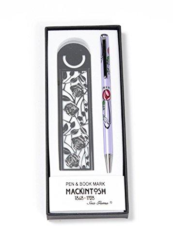 Stift und Lesezeichen-Set in einem Mackintosh Rose Tropfenform Design -