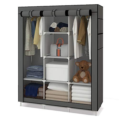 Udear armadio piccolo cabina guardaroba appendiabiti richiudibile in tessuto non tessuto grigio