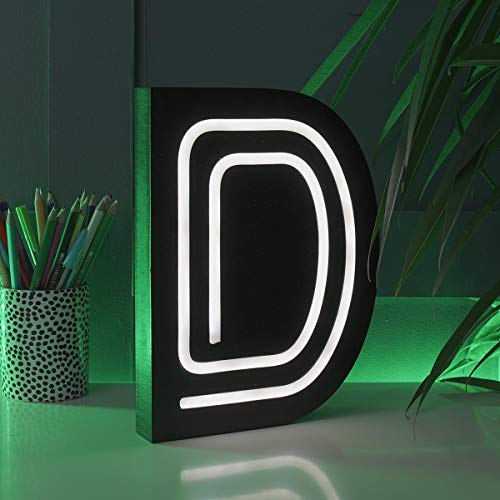 Festive Lights - Letras Decorativas para Colgar en la Pared (Efecto neón, Funciona con Pilas, 16 cm), Color Negro