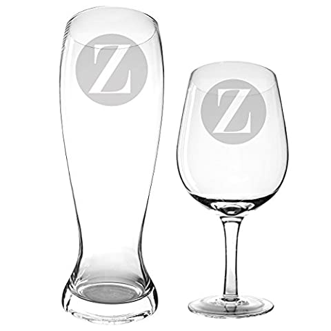 Cathy's Concepts Personalized XL Beer & Wine Glass Set, Letter