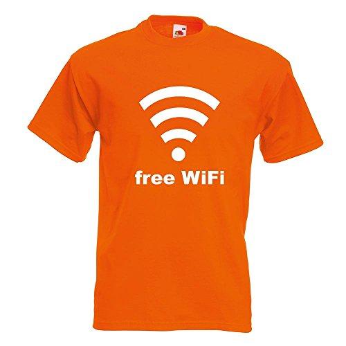 KIWISTAR - free WiFi T-Shirt in 15 verschiedenen Farben - Herren Funshirt bedruckt Design Sprüche Spruch Motive Oberteil Baumwolle Print Größe S M L XL XXL Orange