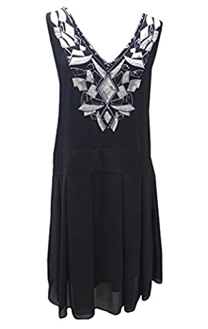 Size 18 Vintage 20s Flapper Sequinned Cocktail Evening Drop Waist Tennis Dress