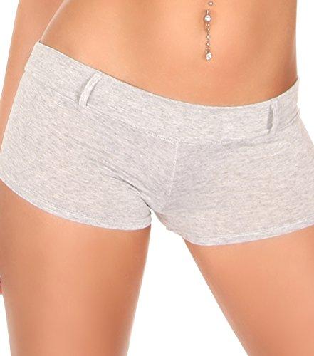 Hot Pants Sexy d'été Short Gogo avec passant de ceinture en 10couleurs Taille (34–40) Gris - Gris clair