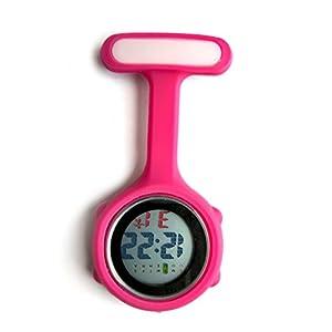 Ellemka – Krankenschwestern Pfleger Chefs   Digitale Anzeige Ansteckuhr Taschenuhr   Digitales Quarzuhrwerk   Hängeband aus Silikon mit Pinnadel   NS-888 – Raspberry Himbeer-Rot – OVP