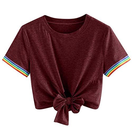 KIMODO T Shirt Damen I Love You 3000 Times Drucken Bluse Sommer Kurzarm Locker Lässig Top mit V-Ausschnitt Bogen-Knoten-Verband Oberteile Shirt - Cowboy Damen V-neck T-shirt
