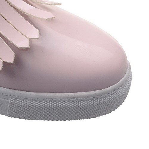 AllhqFashion Femme Tire Rond à Talon Bas Pu Cuir Mosaïque Chaussures Légeres Rose