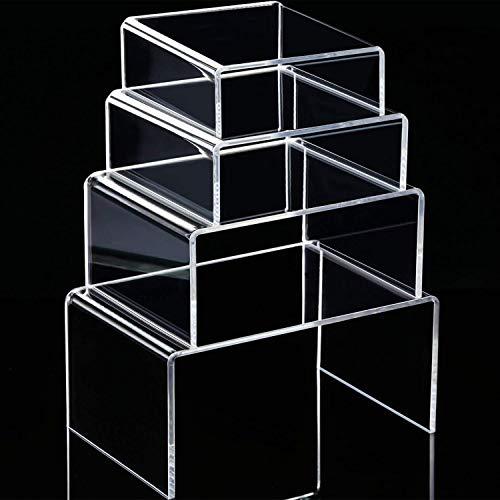 Chuangdi 4 pezzi espositore in acrilico trasparente, espositore per gioielli vetrina mostra strumenti (3.3 inch, 4.1 inch, 5 inch, 5.7 inch)