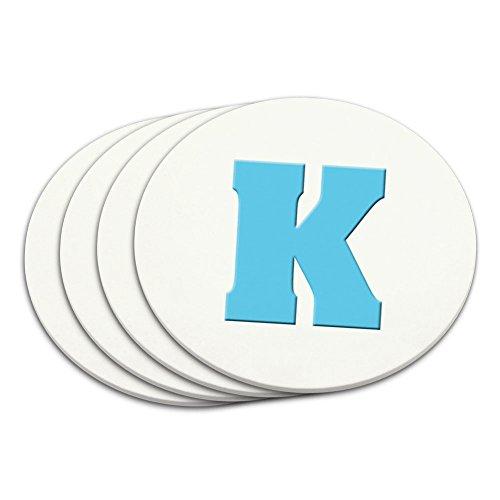 Buchstabe K Initiale Baby Boy Block Schriftart blau Dusche Untersetzer Set