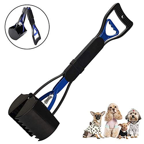 CWeep Dogs Poop Scoop Shovel,Pets Pooper Scooper Portable Long Handle Poop Scoop ABS Plastic Durable Double Spring Dog Sanitary Waste Pickup Remover for Outdooor Non-stick Finish