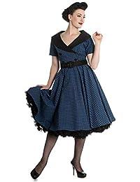 Hell Bunny Bridget Anni 50 Motivo a Quadretti Vestito Stile Rockabilly Blu e70756fe29c