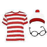 Cojunto tematico para niños de camisa rayada, gorra y gafas Disponible en tamaños de 7-9 años