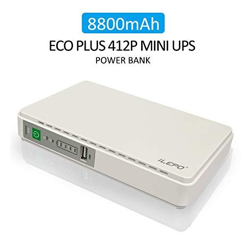 iLEPO Mini-USV Unterbrechungsfreies Stromversorgung, Versorgung 100V~240V AC-Eingang 5V/9V/12V/15V/15V/24V DC-Ausgang, 8800mAH Power Bank für drahtlose Router,Kamera,Telefonüberwachung (White)