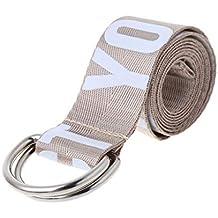 ZOOMY Lona de algodón Letras Simples Hombres y Mujeres Cinturón Vaquero  Cinturón de Lona Unisex - 599233374349