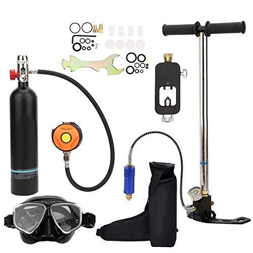 Équipement de Plongée Sous-Marine de Cylindre D'oxygène, 1L Bouteille D'oxygène de PlongéE Respirateur Sous-Marin Portatif Réservoir D'oxygène avec Pompe à Air Haute Pression(noir)