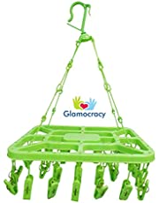 Glamocracy™ Kid's Plastic Clothes Drying Hanger with 36 Clips/Pegs, Baby Clothes Hanger (Assorted Colour)