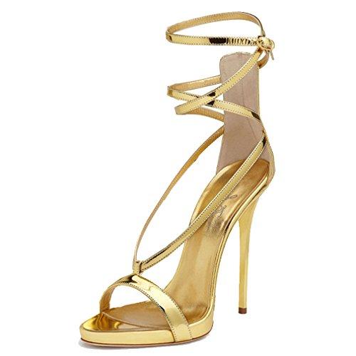 ENMAYER Femmes Gladiator Talon Plat Talon Ouvert Talon Bottines Chaussures de Conception en Cuir Verni Sandales Retour Zip Fermeture Chaussures Plus Size D'or(CR071902)