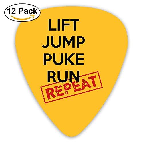 Celluloid Guitar Picks Best Gift For Guitarist Bass Guitar Plectrums,Print Lift Jump Puke Run Repeat,0.46Mm/0.73Mm/0.96Mm,12 Pack