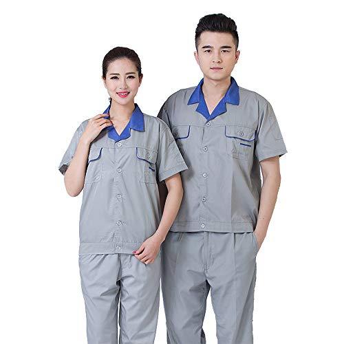 ZEVONDA Set di abbigliamento da lavoro - tuta da lavoro a maniche corte in cotone a maniche corte per abiti da lavoro di fabbrica, Stile-2, EU 150=Tag 160