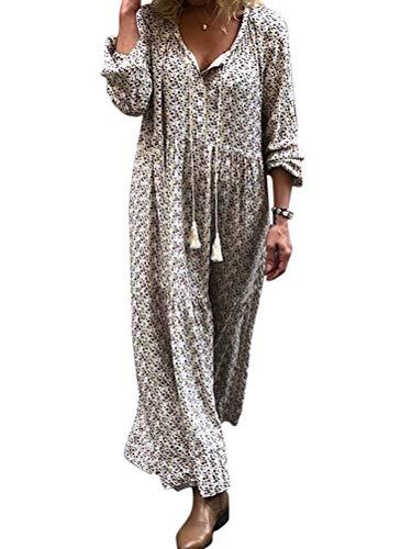 ORANDESIGNE Damen Maxikleid Lose Kleid V-Ausschnitt Langarm Vintage Boho Maxi Kleid Elegant Strandkleid Große Größen Langes Blumenkleid Grau 42