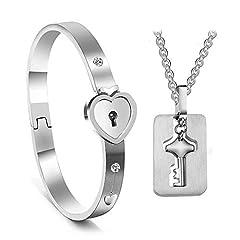 Idea Regalo - AOLVO Set Collana Bracciale Coppia 2 Pezzi Chiave della Collana Braccialetto Forma di Cuore Regalo di San Valentino Argento Compleanno