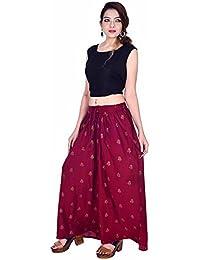Kriti Women's Maroon Gold Block Printed Designer Stylish New Fashion Flared Trouser Cotton Palazzo Pant's-Free...