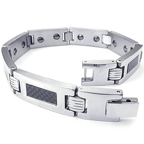 amdxd Bracelet jonc en acier inoxydable en hommes Bracelets style vintage argenté/noir Longueur: 21.6cm Link Bracelet