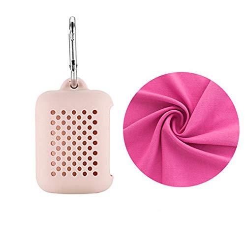 TENGGO Schnelle Trocken-Mikrofaser-Sporttüte Mit Portle-Box Portable Feuchtigkeit Absorbent 16 Outdoor Handtuch-Rosa